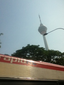 KL tower from the purple bus (we should have taken the green bus - both are lilac)